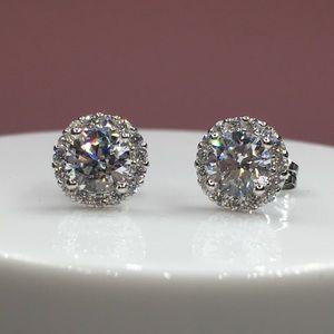 Jewelry - 14k white gold halo diamond stud earrings 1.5 ct